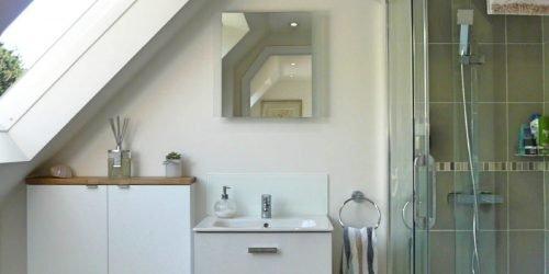 modern en-suite bathroom with large velux window